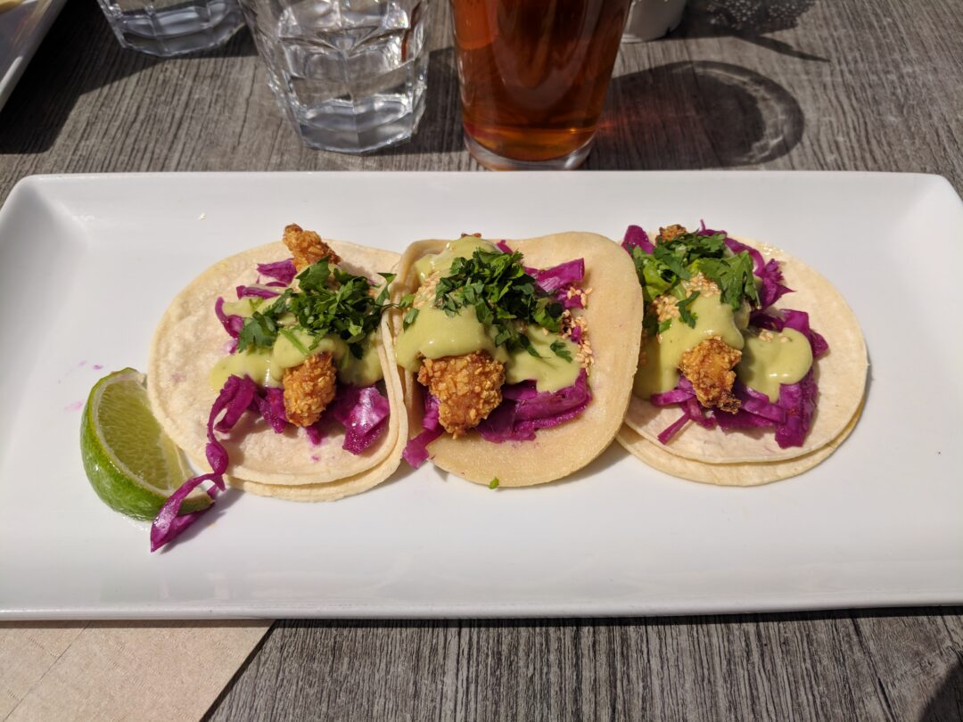 A plate of fish tacos.